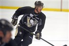 The Penguins' Sidney Crosby participates in training camp drills today at CONSOL Energy Center.