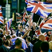 Pro-union protestors chant and wave Union Flags during a demonstration Friday at George Square in Glasgow Friday. Scotland spurned independence in a historic referendum Thursday, saving a union dating back more than 300 years.