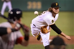Gerrit Cole delivers Thursday against the Red Sox at PNC Park.
