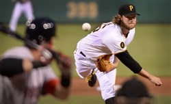 Starter Gerrit Cole delivers against the Red Sox Thursday night  at PNC Park.