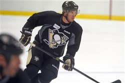 Sidney Crosby participates in the Penguins training camp at CONSOL Energy Center on Friday, September 19, 2014.
