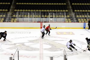 Penguins training camp includes a three-on-three drill at Consol Energy Center.