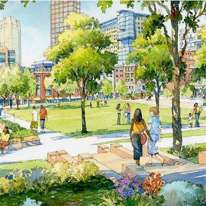 An artist's rendering shows the proposed open community space in the Hill District.