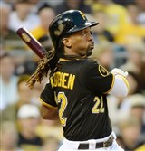 Pirates center fielder Andrew McCutchen was hit twice by pitches Saturday night against the Milwaukee Brewers.