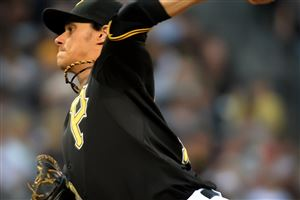 Pirates starter Jeff Locke delivers Friday against the Brewers at PNC Park. Locke gave up just 2 runs but wasn't involved in the decision in the Pirates 4-2 win.