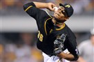 Edinson Volquez pitched seven shutout innings Saturday night at PNC Park.