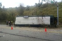 The Port Authority bus landed on Evergreen Road. The cause of the crash has not been determined.