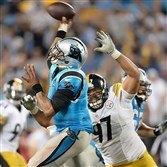 The Steelers' Cameron Heyward pressures Panthers quarterback Derek Anderson late in Sunday's game at Bank of America Stadium in Charlotte.