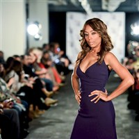 Pittsburgh Fashion Week founder Miyoshi Anderson walks the runway at the opening night showcase at Highmark Stadium in September 2014. The event returns for its sixth year Sept. 21-27.