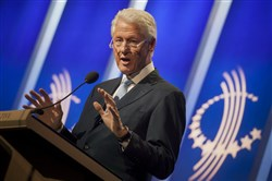 Bill Clinton is scheduled to appear Monday on the South Side to campaign for Democratic gubernatorial candidate Tom Wolf. Clinton, above, speaks during the annual meeting of his Clinton Global Initiative in New York City Sept. 23.