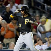 Andrew McCutchen tips his cap as he crosses the plate after his solo-home run in the sixth inning against the Atlanta Braves Monday, Sept. 22, 2014, in Atlanta.