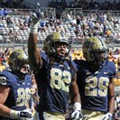 Pitt's Manesseh Garner celebrates his touchdown catch against Akron in the second quarter at Heinz Field Saturday.