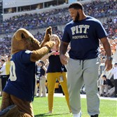 Pitt mascot Roc bows to former Panther Aaron Donald as Pitt takes on Akron at Heinz Field in September.