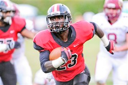 Aliquippa's Kaezon Pugh gets long yardage last month against New Brighton.