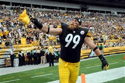 Brett Keisel greets the fans before his team's game against the Buccaneers at Heinz Field Sunday afternoon, September 28, 2014.