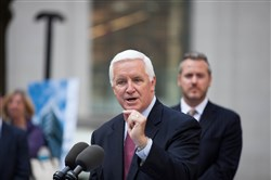 Gov. Tom Corbett speaks today about a newly announced grant to redevelop the former Saks Fifth Avenue Department Store at Mellon Square in Downtown Pittsburgh.