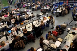Students work in a library at the Roma Tre University in Rome.