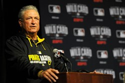Pittsburgh Pirates manager Clint Hurdle speaks about the upcoming wild card game against the San Francisco Giants during a press conference at PNC Park on Tuesday, Sept. 30, 2014.