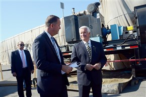"""Former Transportation Secretary Barry Schoch, shown at left with then-Gov. Tom Corbett in September 2014, said he didn't help steer grants to the railroad. """"It was purely based on a scoring system, an evaluation of the system."""""""