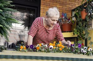 "Jackie Barid cleans up her Lawrenceville porch flower box that her husband plants. She says, ""I love the plants and do the ones inside."""