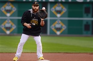 Catcher Russell Martin work outs with the Pirates on Tuesday evening at PNC Park.