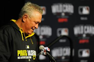 Pirates manager Clint Hurdle speaks about the upcoming wild card game against the San Francisco Giants during a news conference at PNC Park.