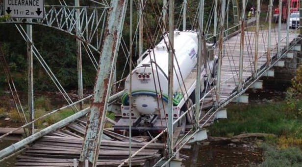 Greene County officials said inspectors will determine whether the historic Pollocks Mill Bridge can be repaired after a tanker truck broke through part of it on Sunday.