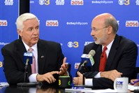 "Gov. Tom Corbett, left, and Democratic challenger Tom Wolf take part in a debate at the ""Breakfast with the Candidates"" event today in Philadelphia."