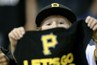 A young fan shows his support for the Pirates.