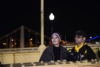 Theresa Gottl and Steve Brightman drove in from Akron to watch the Pirates from the Roberto Clemente bridge.