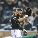 Russell Martin tips his cap to fans after recording an out in his final at-bat Wednesday night in the Pirates' 8-0 loss to the Giants at PNC Park.