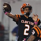 Clairton QB Ryan Williams throws a 2pt conversion against Jeanette on Oct. 03, 2014.
