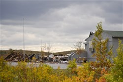 This image show the damage to the Flight 93 National Memorial headquarters caused by a fire on Oct.