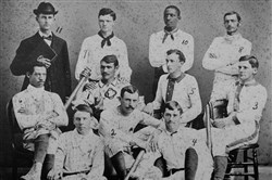 The first varsity baseball team of Oberlin College in Ohio in 1881 included Fleetwood Walker (No. 6 in the middle row) and his brother Weldy (No. 10).