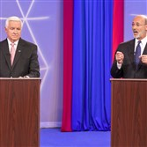 Democratic party candidate for governor of Pennsylvania, Tom Wolf, right and republican Governor Tom Corbett debate at the WTAE-TV studio in Wilkinsburg, Pa. on Wednesday, Oct. 8, 2014. (AP Photo/Rodney Johnson,WTAE-TV, Pool)