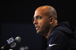 Penn State NCAA college football coach James Franklin talks to the media during his weekly press conference in State College, Pa., Tuesday, Oct. 7, 2014.
