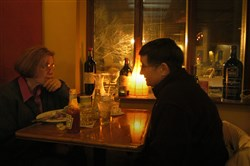 Michele McClendon, left, and Sue Zitterbart enjoy dinner at The Elbow Room in 2005. Owner Michael DiFiore is selling the establishment to Trapuzzanno Group, LLC.