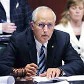 Senate Majority Leader Dominic Pileggi, R-Delaware, conducts a rules committee meeting on the state budget in 2012 in Harrisburg.