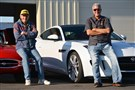 Sam McVeigh sits on his 1967 Jaguar XKE next to John Putzier, CEO of the GPADA and owner of the 2015 Jaguar F-Type R.