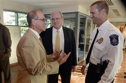 During a reception, Collier Township manager Salvatore Sirabella, from left, Judge Gerard Bigley of the Court of Common Pleas of Allegheny County, and Collier police Chief Craig Campbell.