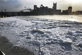 Jan. 7, 2014, was a very cold day in the Pittsburgh region, as a layer of ice sits along the North Shore looking toward Downtown.