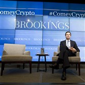 FBI director James Comey speaks about the impact of technology on law enforcement Thursday at Brookings Institution in Washington.