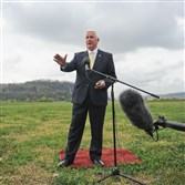 Gov. Tom Corbett speaks to the media during the announcement of of redevelopment plans for the Almono-Hazelwood site in Pittsburgh last week.
