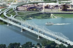 In this artist rendering, the Downtown Crossing bridge will connect downtown Louisville and Jeffersonville, Ind., running parallel to the existing Kennedy Bridge. The East End Crossing will be located eight miles upstream and connect Prospect, Ky., and Utica, Ind.