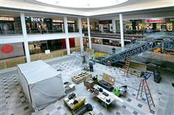 New escalators are among the renovations in the final stages at South Hills Village mall.