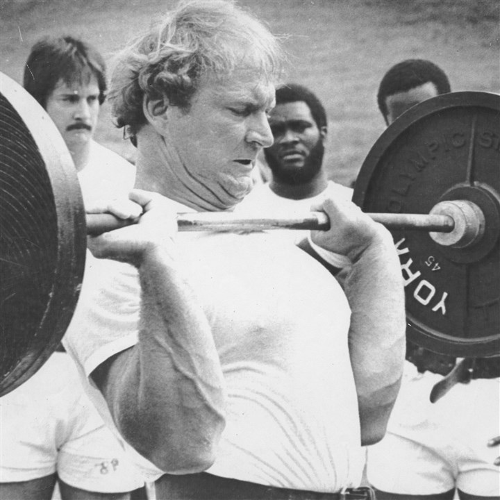 Mike Webster file photo 2 July 18, 1981: Webster lifts 280 pounds during summer workouts at St. Vincent College in Latrobe.