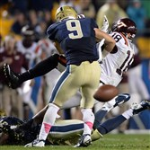 Pitt's Ray Vinopal breaks up a pass against Virginia Tech's Cam Philips on the Hokies last play in the fourth quarter at Heinz Field on Thursday night, October 16, 2014.