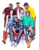 "(Clockwise) Lil Rel Howery, Jermaine Fowler, Josh Rabinowtiz, The Lucas Bros., Kevin Barnett and Jennifer Bartels of truTV's ""Friends of the People,"" a new sketch comedy series."