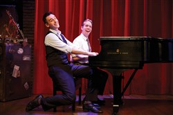 "Joe Kinosian, left, and Ian Lowe in CLO Cabaret's ""Murder for Two."""