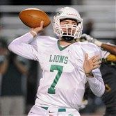 South Fayette QB Brett Brumbaugh looks to pass against Seton LaSalle on Friday night.